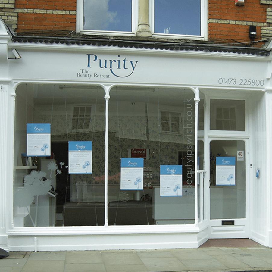 Shop Front Design Ipswich Purity  KeaKreative Graphic Design