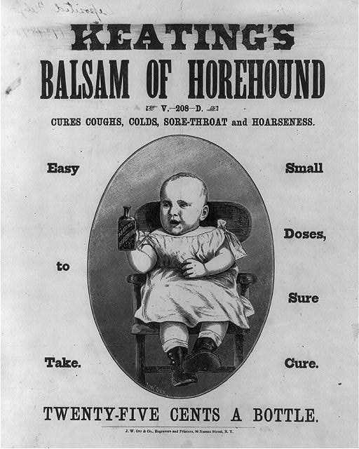 Antique advertisement for Keating's Balsam of Horehound  Cures Coughs, Colds, Sore-throat and Hoarseness