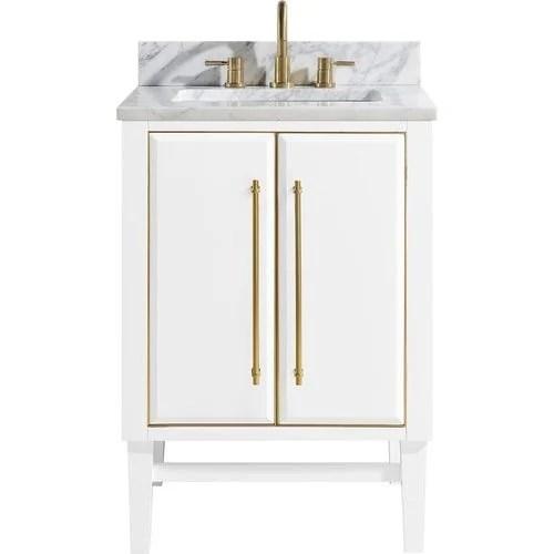 avanity 25 inch mason single sink vanity white with matte gold trim and carrara white marble top mason vs25 wtg c keats castle