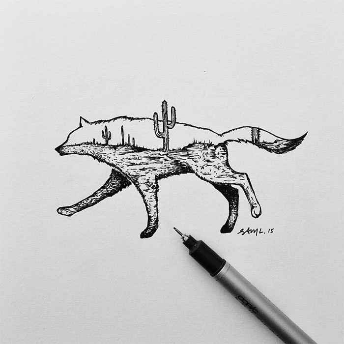 Disegni in miniatura di ibridi tra animali e paesaggi naturali  Keblog
