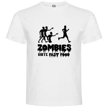 Camiseta para hombre divertida zombies odian la comida rápida en color blanco