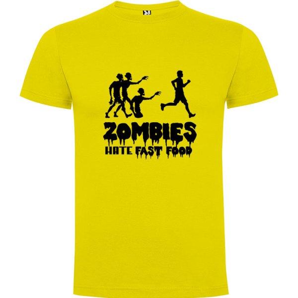 Camiseta para hombre divertida zombies odian la comida rápida en color amarillo