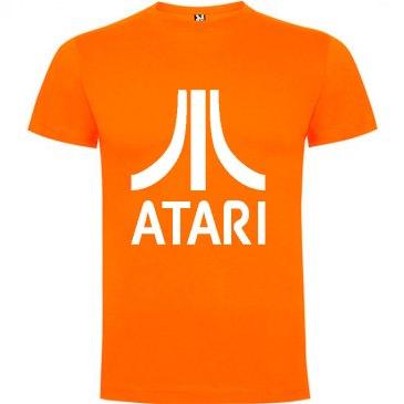 Camiseta para hombre arcade ATARI en color naranja y logo en blanco
