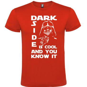 T-Shirt Dark side is cool and you know it en color rojo