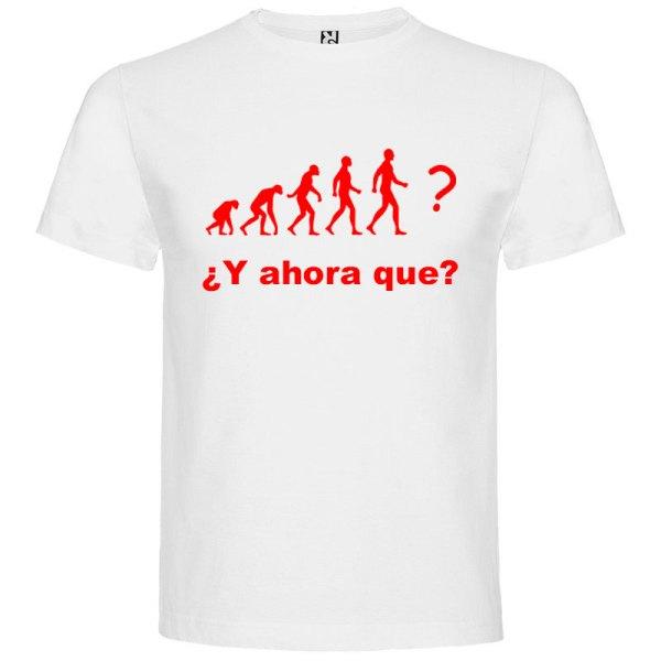 Camiseta hombre evolución blanco logo rojo
