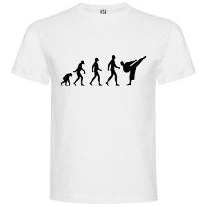 Camiseta hombre evolución karate Blanca logo Negro