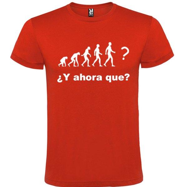 Camiseta hombre evolución Roja logo Blanco