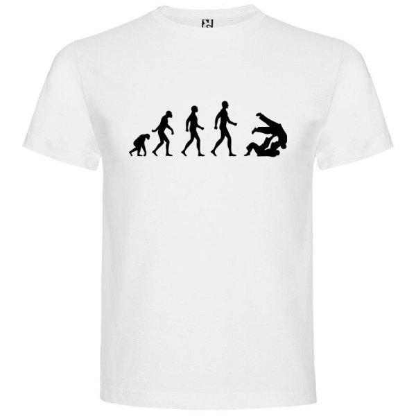 Camiseta hombre evolución taekwondo Blanca logo Negro