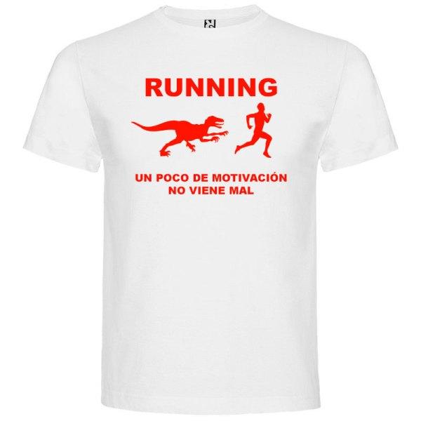 Camiseta RUNNING Hombre color Blanco logo Rojo