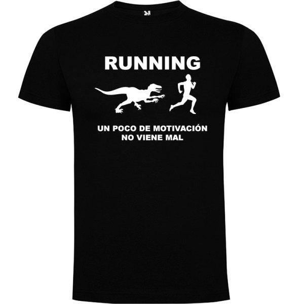 Camiseta RUNNING Hombre color Negro logo Blanco