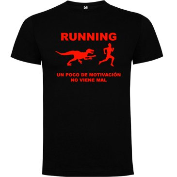 Camiseta RUNNING Hombre color Negro logo Rojo