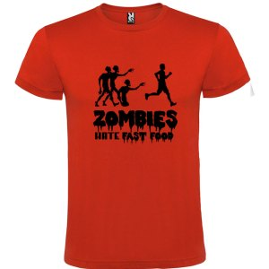 Camiseta para hombre divertida zombies odian la comida rápida en color rojo