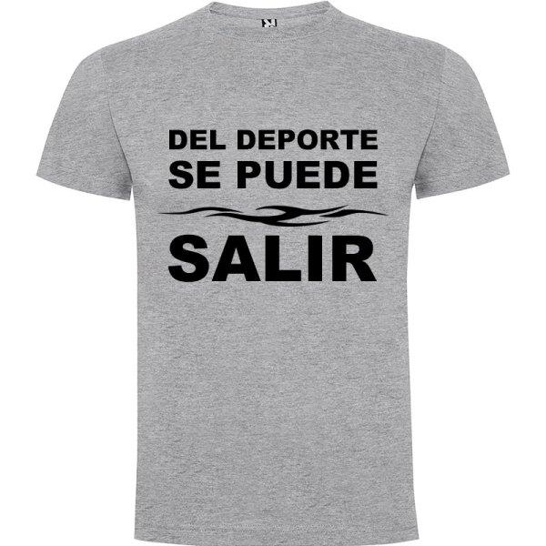 Camiseta divertida del deporte se sale para hombre color Gris logo Negro