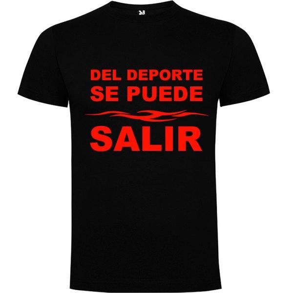 Camiseta divertida del deporte se sale para hombre color Negro logo Rojo