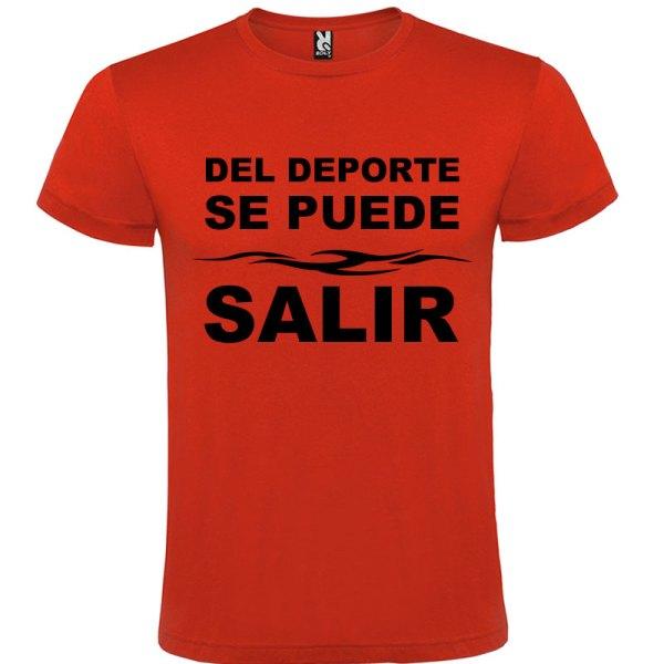 Camiseta divertida del deporte se sale para hombre color Rojo logo Negro