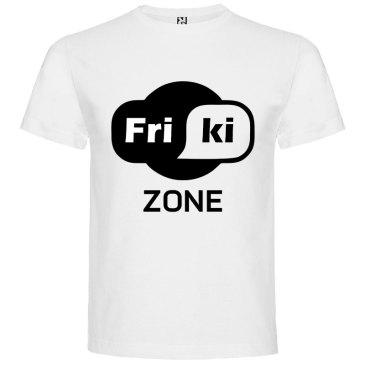 Camisetas para Frikis - friki zone en color blanco y logo en negro