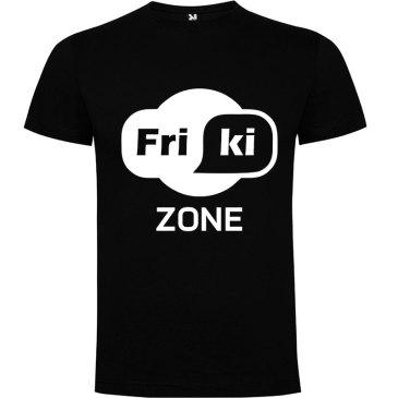 Camiseta hombre evolución Friki Zone Negra logo Blanco