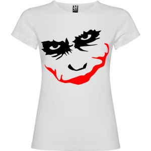 Camiseta manga corta para mujer Joker Smile en Color Blanco