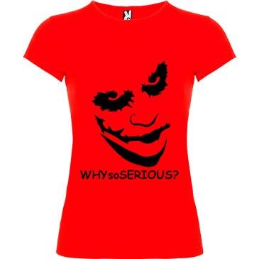 Camiseta manga corta Why so serious?para mujer Joker en Color Rojo