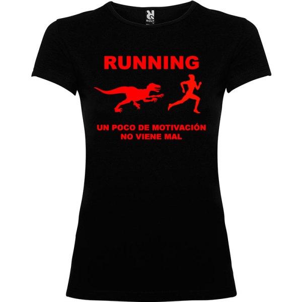 Camiseta RUNNING Mujer color Negro logo Rojo