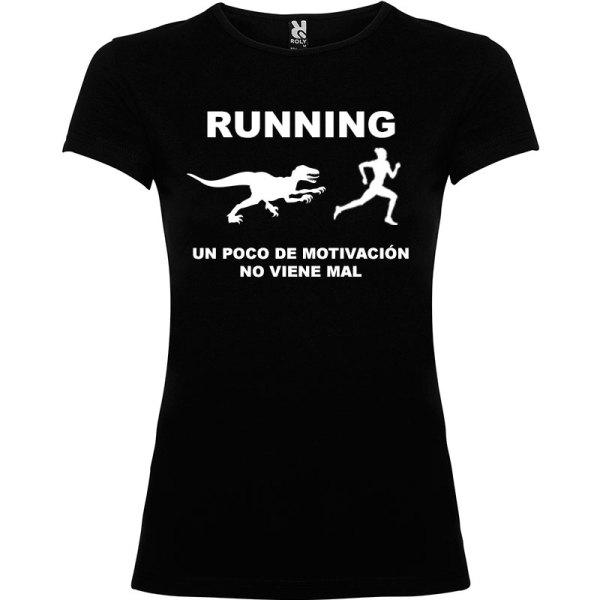 Camiseta RUNNING Mujer color Negro logo Blanco