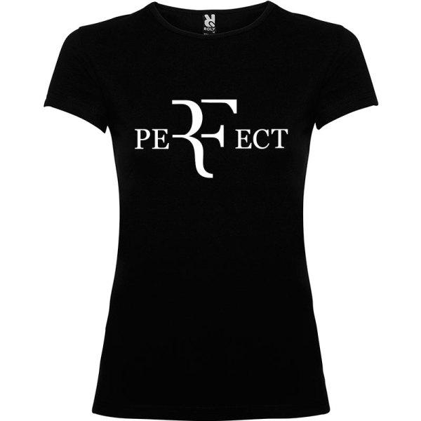Camiseta para mujer perfect en color negro y logo en blanco