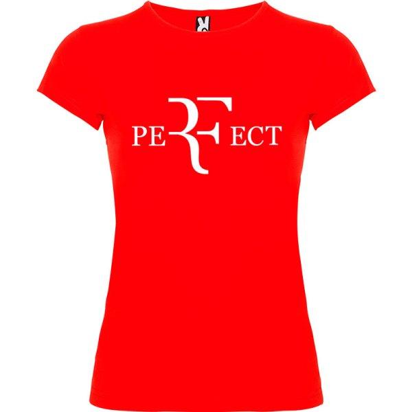 Camiseta para mujer perfect en color rojo y logo en blanco
