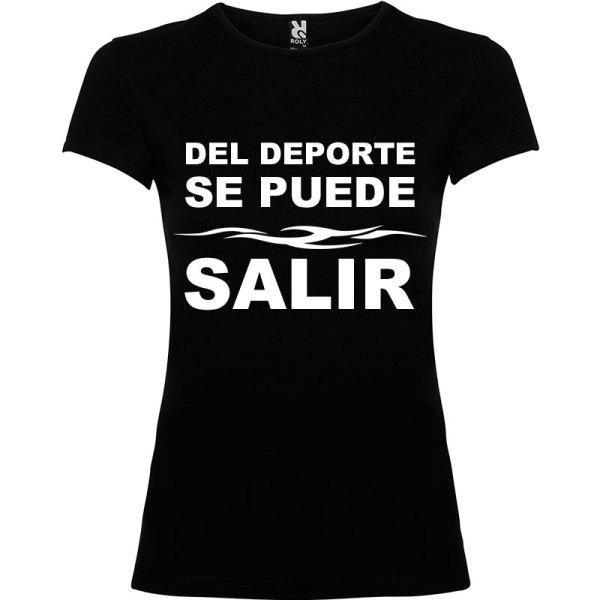 Camiseta divertida del deporte se sale para Mujer color Negro logo Blanco