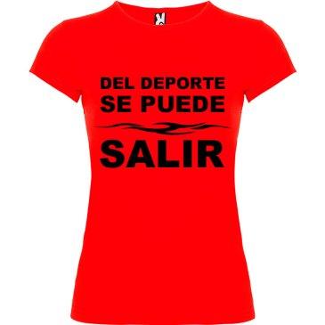 Camiseta divertida del deporte se sale para Mujer color Rojo logo Negro