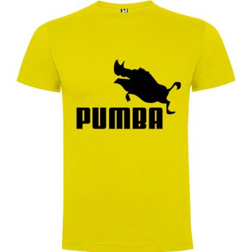 Camiseta hombre divertida PUMBA en amarillo