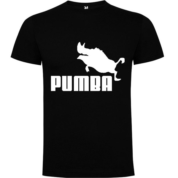 Camiseta hombre divertida PUMBA en negro