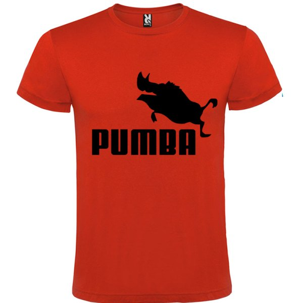 Camiseta hombre divertida PUMBA en rojo