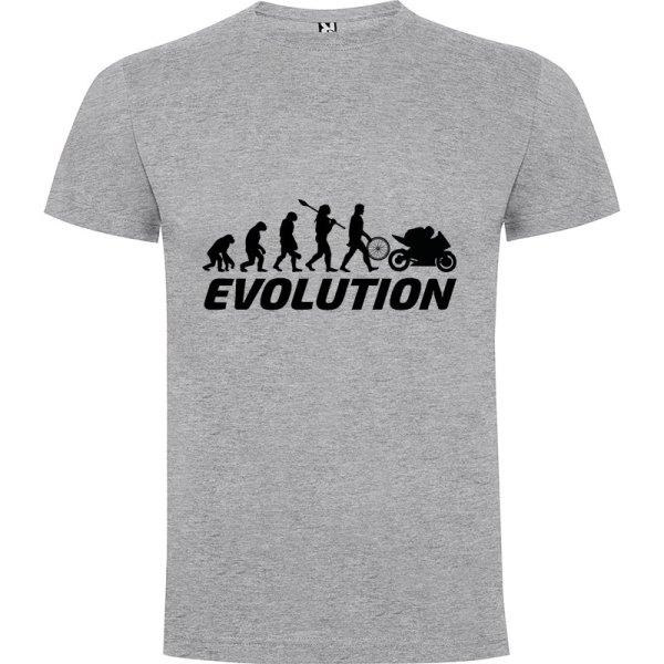Camiseta para hombre evolución hombre motero en Gris