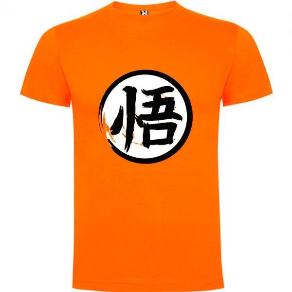 Camiseta para hombre y niños Dragón Ball kanji Go en color Naranja