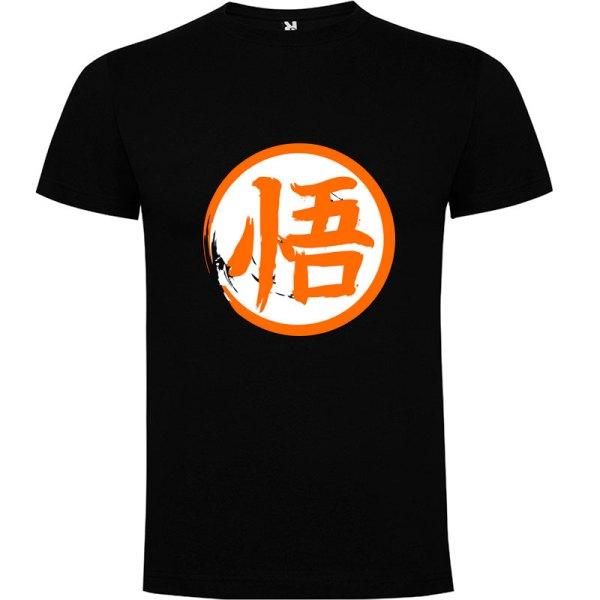 Camiseta para hombre y niños Dragón Ball kanji Go en color Negro
