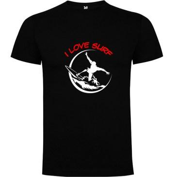 Camiseta surfera para hombre I Love Surf en color Negro