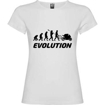 Camiseta para Mujer evolución mujer a motera en Blanco