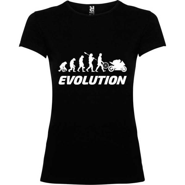 Camiseta para Mujer evolución mujer a motera en Negro