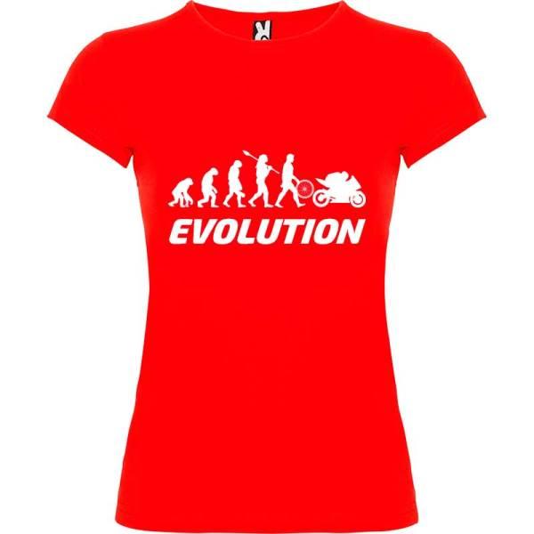 Camiseta para Mujer evolución mujer a motera en Rojo