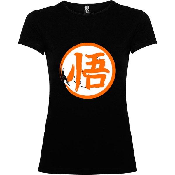Camiseta para mujer Dragón Ball kanji Go en color Negro