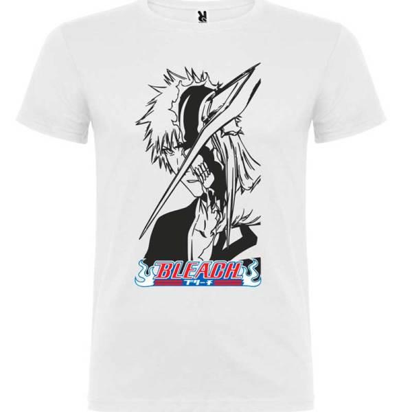 Camiseta para hombre manga bleach en blanco logo negro