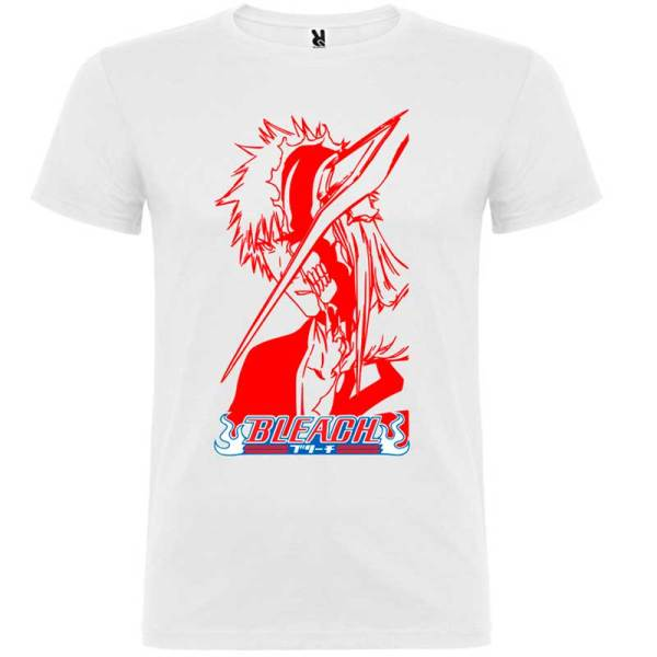 Camiseta para hombre manga bleach en blanco logo rojo
