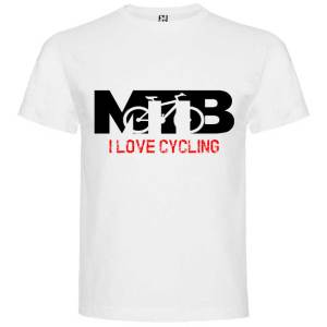 Camiseta para hombre MTB I Love Cycling en color Blanco