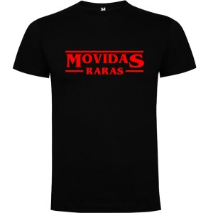 Camiseta para hombre Stranger Things Movidas Raras en color Negro