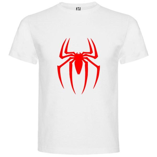 Camiseta para hombre manga corta Spider en color Blanco y logo rojo