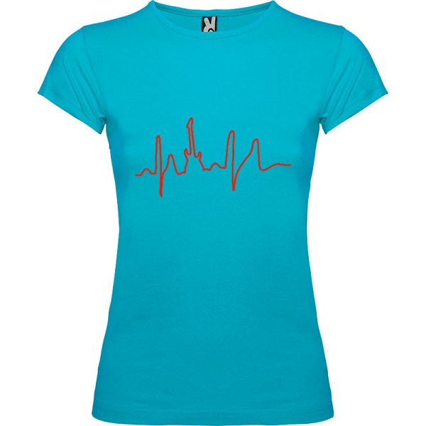 Camiseta para mujer I Live Rock nn color Turquesa