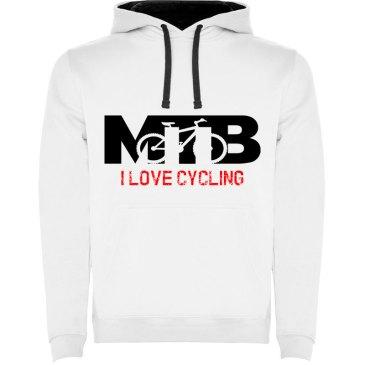 Sudadera para hombre con capucha MTB I Love Cycling en color Blanco
