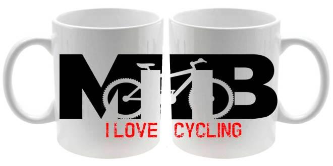 Taza cerámica MTB I Love Cycling en blanco detalle