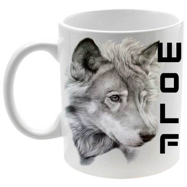 Taza Cerámica personalizada Lobo gris