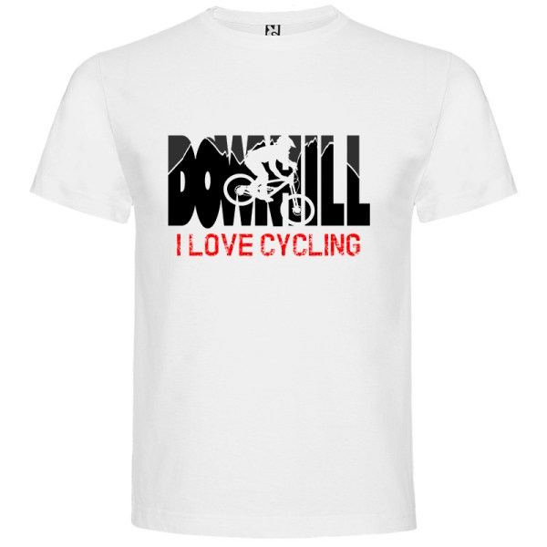 Downhill Camiseta I Love Cycling en color blanco